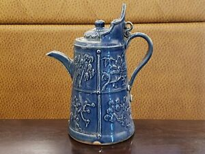 Rare Chinese Hand Carved Blue Glaze Porcelain  Tea Pot  Flagon