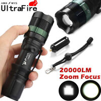 Ultrafire 18650 Flashlight Torch 20000LM Zoomable XM-L T6 LED Super Hiking Lamp