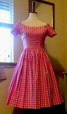 Vintage  00004000 50s Lanz Pink & White Dress/ 50s Full Skirt Floral Dress