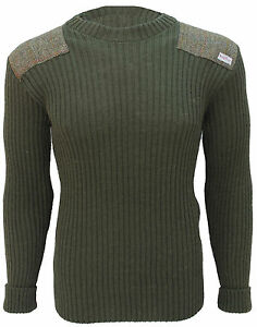 Crew Neck Sweater   Harris Tweed patches   100% British Wool   # 14135