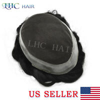 Hand-Tie Wig French Lace Men Toupee Human Hair Front Bleached Knots Hairpiece