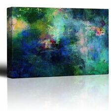 Soothing and Vibrant Blue and Green Splotches of Paint - Canvas Wall Art - 24x36