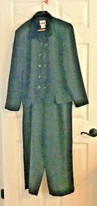 Leslie Fay Women's Pant Suit 14 Black Long Sleeve Button Up Jacket Career 2 PC