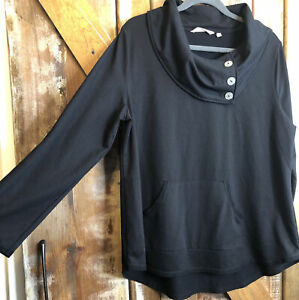 Soft Surroundings Black Kassidy Pullover Tunic Sz XL Button Cowl Neck