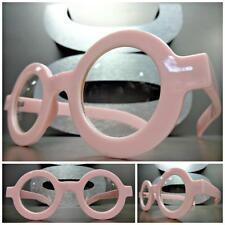 VINTAGE RETRO WALDO Style Clear Lens EYE GLASSES Round Thick Pink Fashion Frame