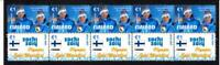 2014 SOCHI OLYMPIC GOLD STRIP OF 10 MINT STAMPS, FINLAND CROSS COUNTRY SKI TEAM