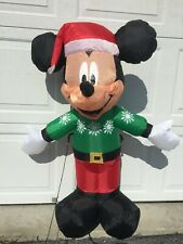 Inflatable Mickey Mouse Christmas 3.5' Airblown Decoration Gemmy Green Sweater