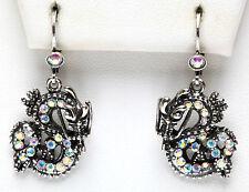 Leverback Earrings antique silvertone Kirks Folly Sparkling Dracon Dragon