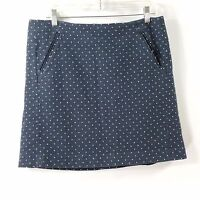 LOFT Ann Taylor Skirt Size 14 Pencil White Blue Woven Pockets Lined