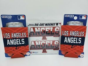 Los Angeles Angels of Anaheim Can Cooler Koozie & Die Cut Magnets NEW Lot/3 Gift