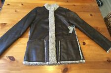 "$230 Velvet By Graham & Spencer: ""Edna"" Faux Shearling Car Coat - Bark, Large"