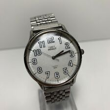 Vintage Men's Timex Easy Read Indiglo Watch Sport Dial SS Band Retro