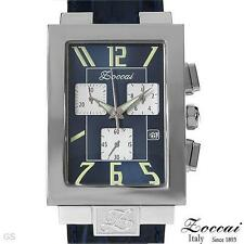 ZOCCAI Italy ZWCR0002BLBLA Unisex Rectangular Chronograph Date Watch, Stainless