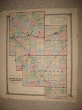 ANTIQUE 1875 LASALLE GRUNDY LIVINGSTON COUNTY ILLINOIS HANDCOLORED MAP RAILROAD