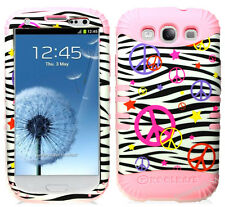 KoolKase Hybrid Silicone Cover Case for Samsung Galaxy S3 - Peace Zebra White