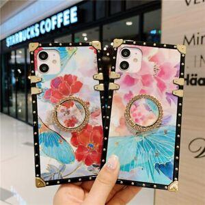 Luxury Fashion Women Flower Ring Bling Glitter Square Shockproof Soft Case Cover