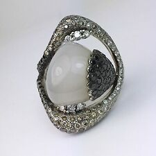 14K White Gold Italian Designer Moonstone White Champagne Black Diamond Ring