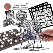 Traditional Bingo Lotto Lottery Family Game Set - Cage Balls Cards Counters