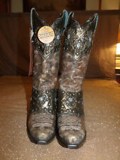 Corral Ladies 6.5M & 7M Studs, Brown W/Bronze Collar Harness Western Boot E1017