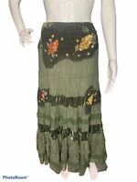 MISS ME Womens M Army Green Maxi Skirt Tiered Boho Sequin Velvet Long Zip Lined