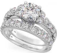Celebration of Love Round Cut Sterling Silver Wedding Engagement Bridal ring set