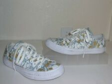 fd15349484a7 Converse PatBo White Leather Blue Gold Floral Print Sneakers Size 6.5 1 2  Shoes