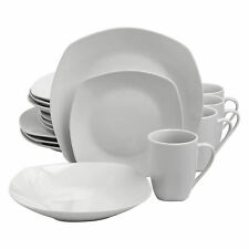 Gibson Porcelain 16 Piece Dinnerware Set Plates, Bowls, & Mugs, Pearl (Open Box)