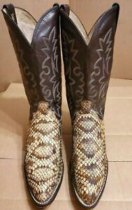 Dan Post Diamond Back Rattle Snake Cowboy Boots 12 D