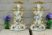 Antique PAIR vieux paris porcelain Candle holder vases attr. jacob petit