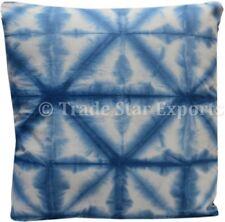 Large Hand Dyed Shibori Cushion Cover 24x24 Euro Sham Indigo Square Pillow Case