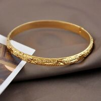 Women's Bracelet Bangle Charms 18K Yellow Gold Filled 60mm Fashion Jewelry