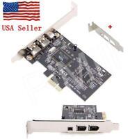 PCI-E Express FireWire 1394a IEEE1394 Card w/Low Profile Bracket US Stock