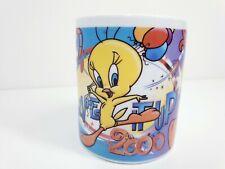 Vintage 1999 2000 Looney Tunes Ceramic Mug Tweety Live It Up Millennium