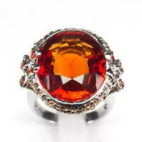 Sapphire Orange Ring Size 6 Oval 21.70 ct. 925 Sterling Silver Fine Gift Women