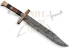 Damascus steel BLADE HANDMADE Collectiable BOWIE , WOOD HANDLE,OVERALL21,5""