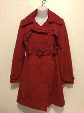 Bebe Women's Red Belted Coat Jacket Size M
