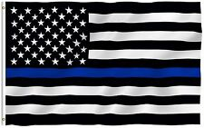 Thin Blue Line Police USA Flag Respect and Honor Banner 3x5 Foot US Flags