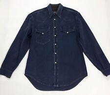 El charro jeans camicia shirt uomo L manica lunga blu usato vintage 80 T1520