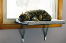 Deluxe Cat Window Perch Lookout Cushioned Removable Cover 24 W x 12 D Gray