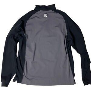 Footjoy Mens Large 1/4 Zip Shirt Jacket Black Gray e3
