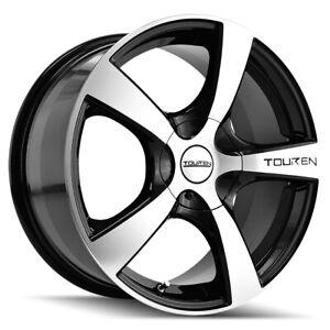 """Touren TR9 17x7 5x100/5x4.5"""" +42mm Black/Machined Wheel Rim 17"""" Inch"""