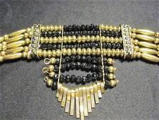 NEW! Goldtone & Black Bead Choker Necklace  -  FREE SHIP