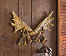 moose Deer antler Hunting cabin rustic Bathroom bath rack coat key wall hook