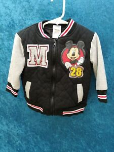 Baby Boy's Black Mickey Mouse Varsity Embroidered Jacket W Pockets, Size 3T