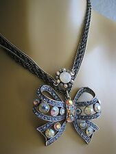 BETSEY JOHNSON ICONIC BONJOUR BUTTERFLY JEWELED BOW LONG NECKLACE~RARE