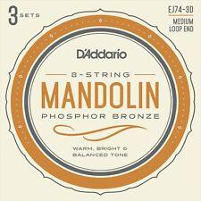 D'Addario EJ74 3 Sets Phosphor Bronze Mandolin Strings Medium 11-40 -