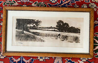 """Antique 1894 Oak Framed Signed Etching Print By Clinton Willard """"Wheat Harvest'"""