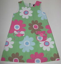Mini Boden Girls 4-5 Funky Print Dress EUC Leaf Flower Pop #33063GRN