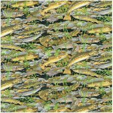 Fat Quarter Fishing Trout Fish Black Cotton Quilting Fabric  Nutex  50 x 55cm