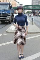 Damen Rock Pepitamuster blau orange skirt 38 70er True VINTAGE 70s